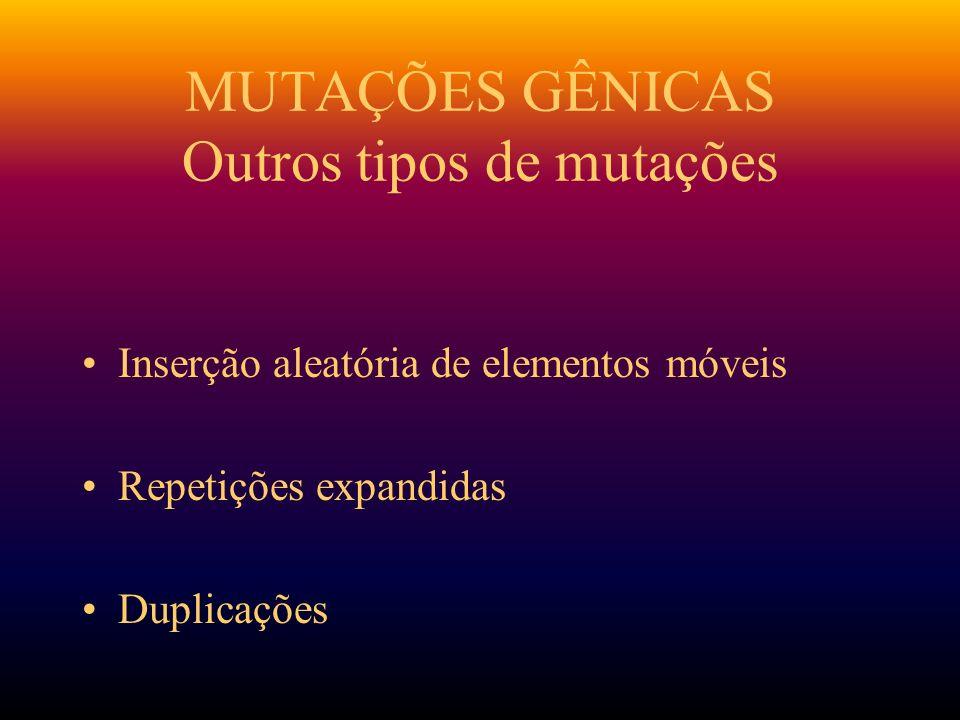 MUTAÇÕES GÊNICAS Outros tipos de mutações