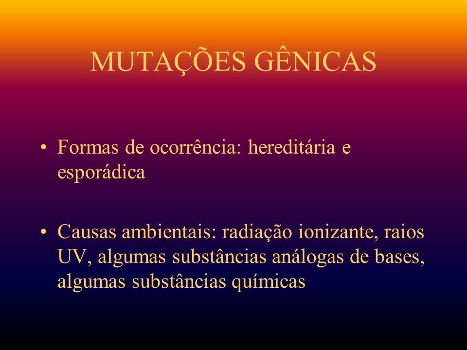 MUTAÇÕES GÊNICAS Formas de ocorrência: hereditária e esporádica
