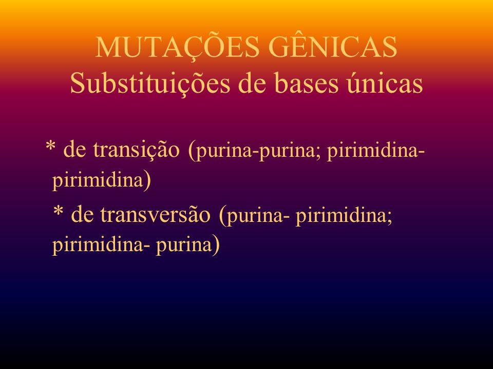 MUTAÇÕES GÊNICAS Substituições de bases únicas
