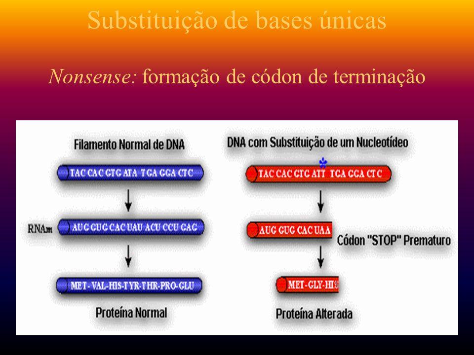 Substituição de bases únicas Nonsense: formação de códon de terminação