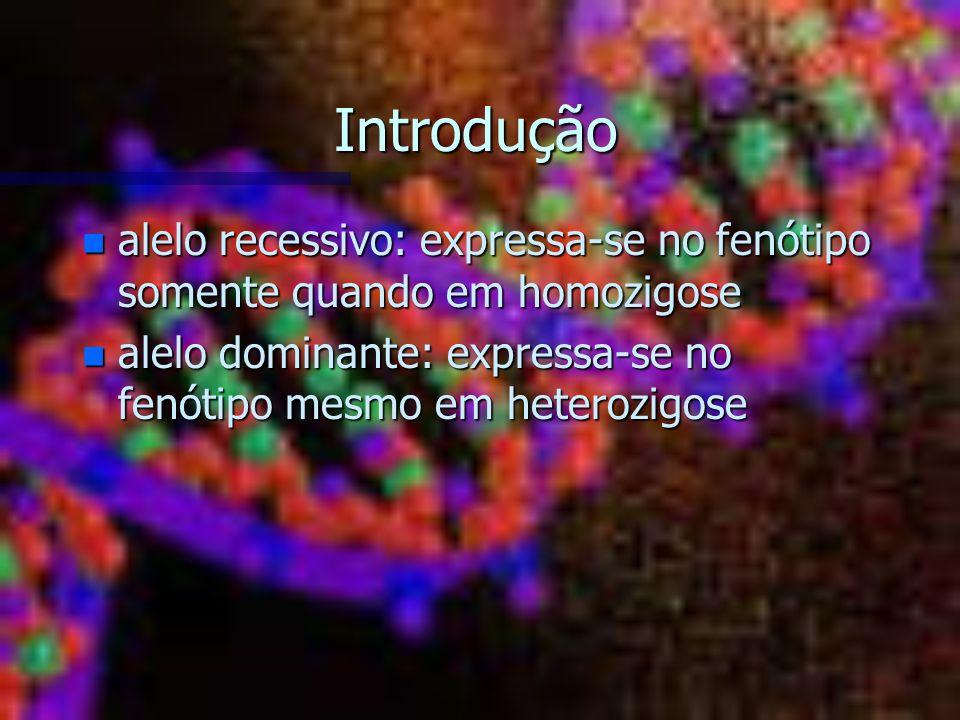 Introdução alelo recessivo: expressa-se no fenótipo somente quando em homozigose.