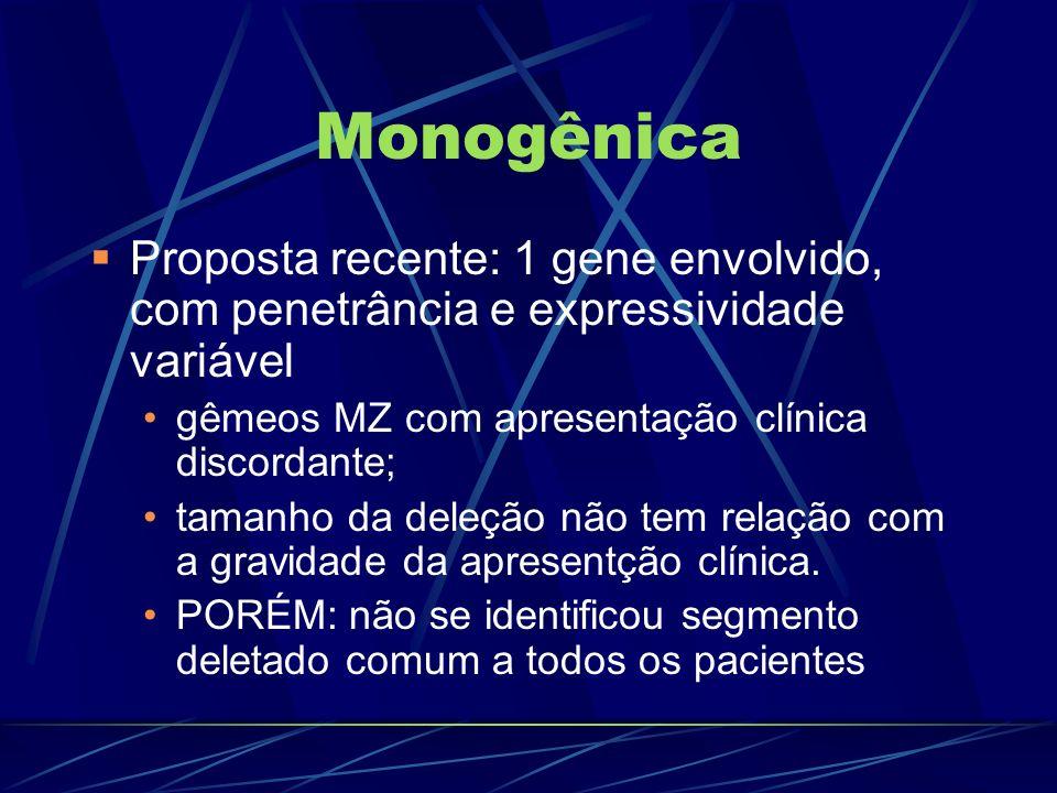 MonogênicaProposta recente: 1 gene envolvido, com penetrância e expressividade variável. gêmeos MZ com apresentação clínica discordante;