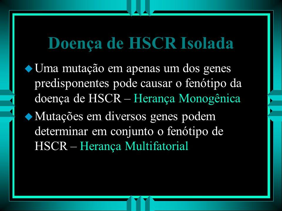 Doença de HSCR Isolada Uma mutação em apenas um dos genes predisponentes pode causar o fenótipo da doença de HSCR – Herança Monogênica.