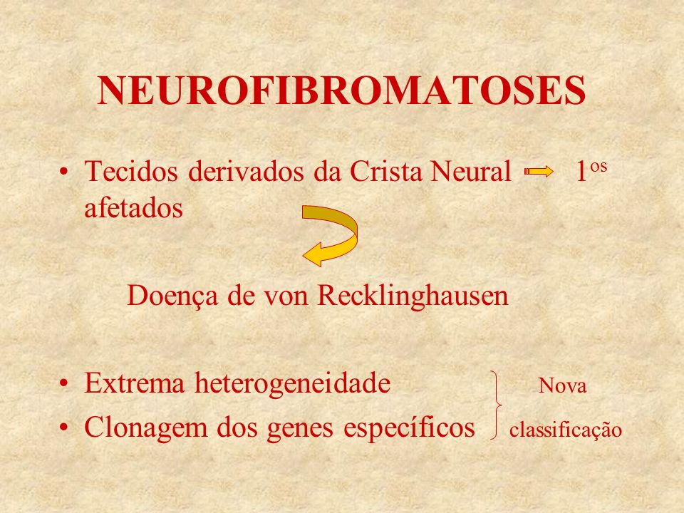 NEUROFIBROMATOSES Tecidos derivados da Crista Neural 1os afetados