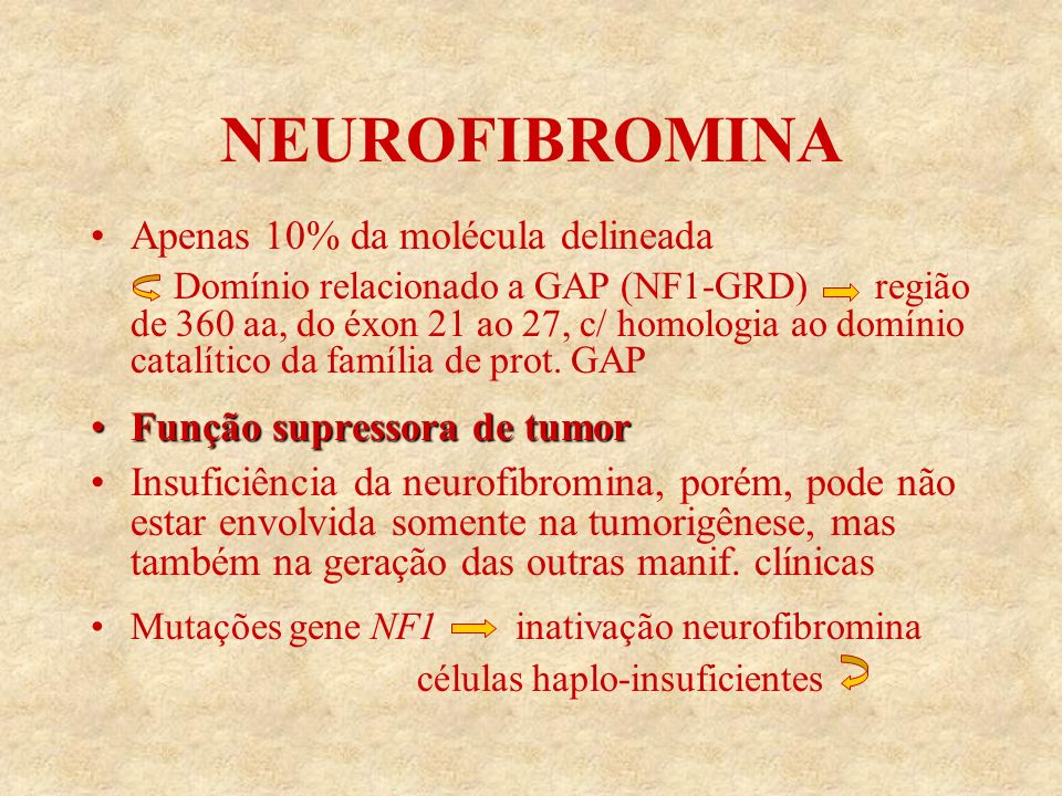 NEUROFIBROMINA Apenas 10% da molécula delineada