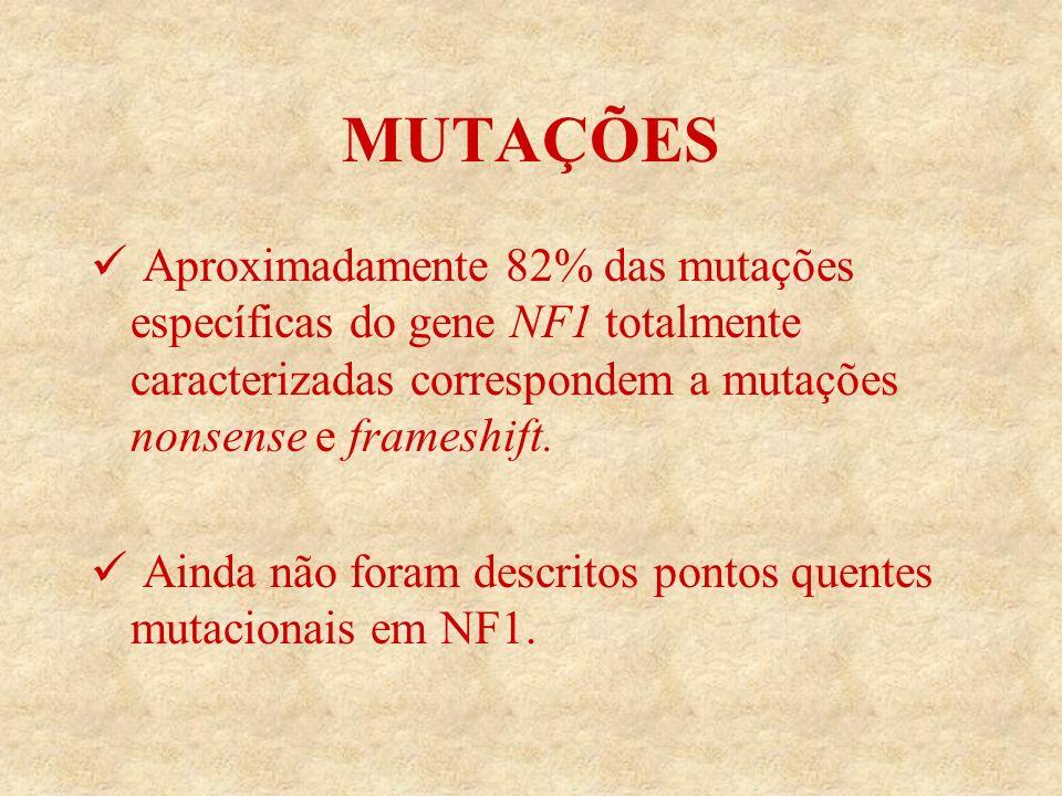 MUTAÇÕES Aproximadamente 82% das mutações específicas do gene NF1 totalmente caracterizadas correspondem a mutações nonsense e frameshift.