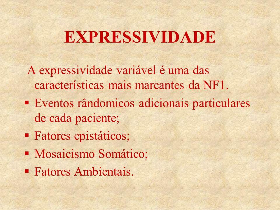 EXPRESSIVIDADE A expressividade variável é uma das características mais marcantes da NF1.