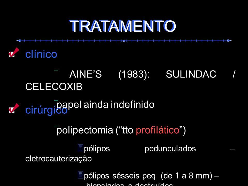 TRATAMENTO TRATAMENTO clínico  AINE'S (1983): SULINDAC / CELECOXIB