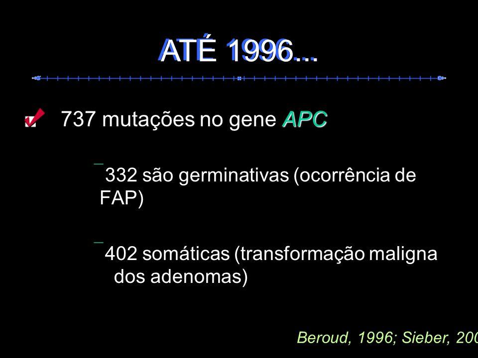 ATÉ 1996... ATÉ 1996... 737 mutações no gene APC