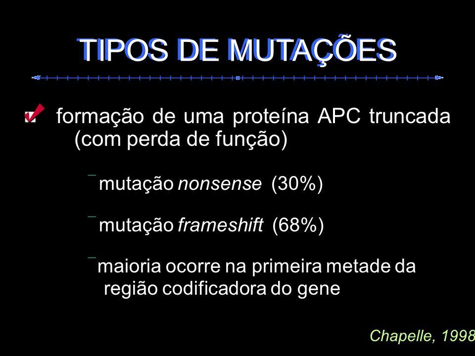 TIPOS DE MUTAÇÕES TIPOS DE MUTAÇÕES