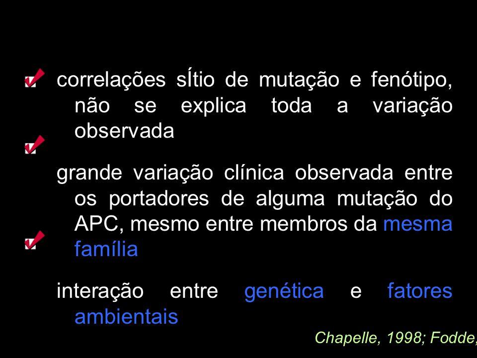 correlações sÍtio de mutação e fenótipo, não se explica toda a variação observada