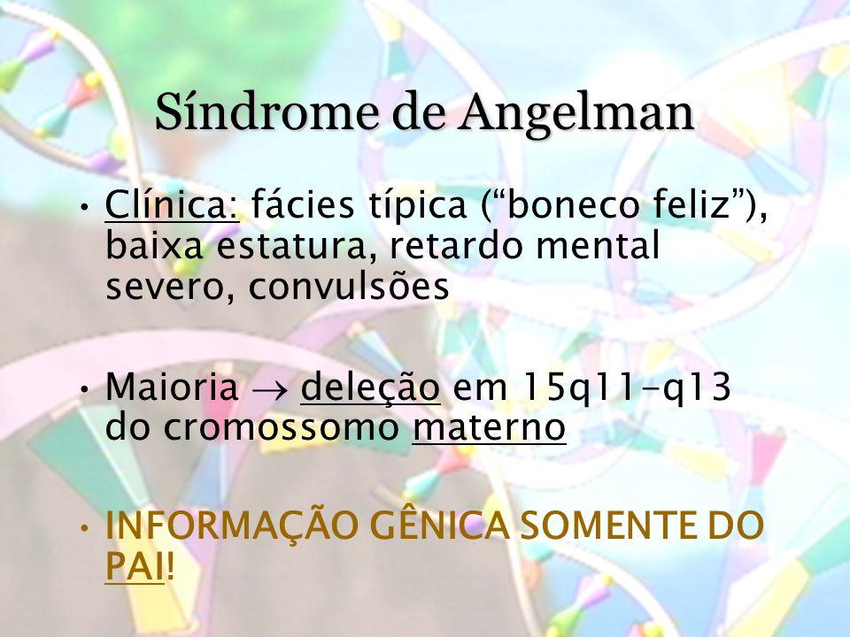 Síndrome de Angelman Clínica: fácies típica ( boneco feliz ), baixa estatura, retardo mental severo, convulsões.