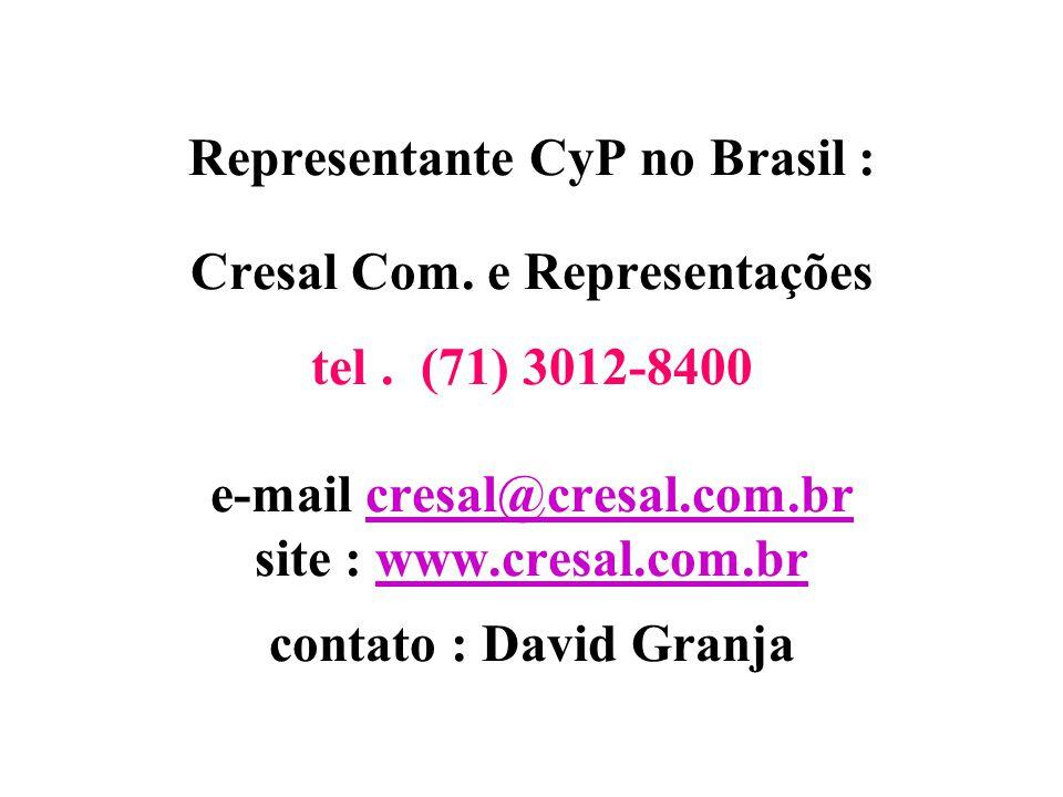 Representante CyP no Brasil : Cresal Com. e Representações tel