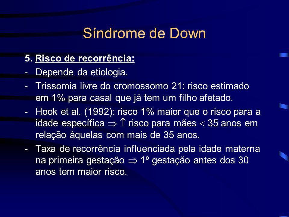 Síndrome de Down 5. Risco de recorrência: Depende da etiologia.