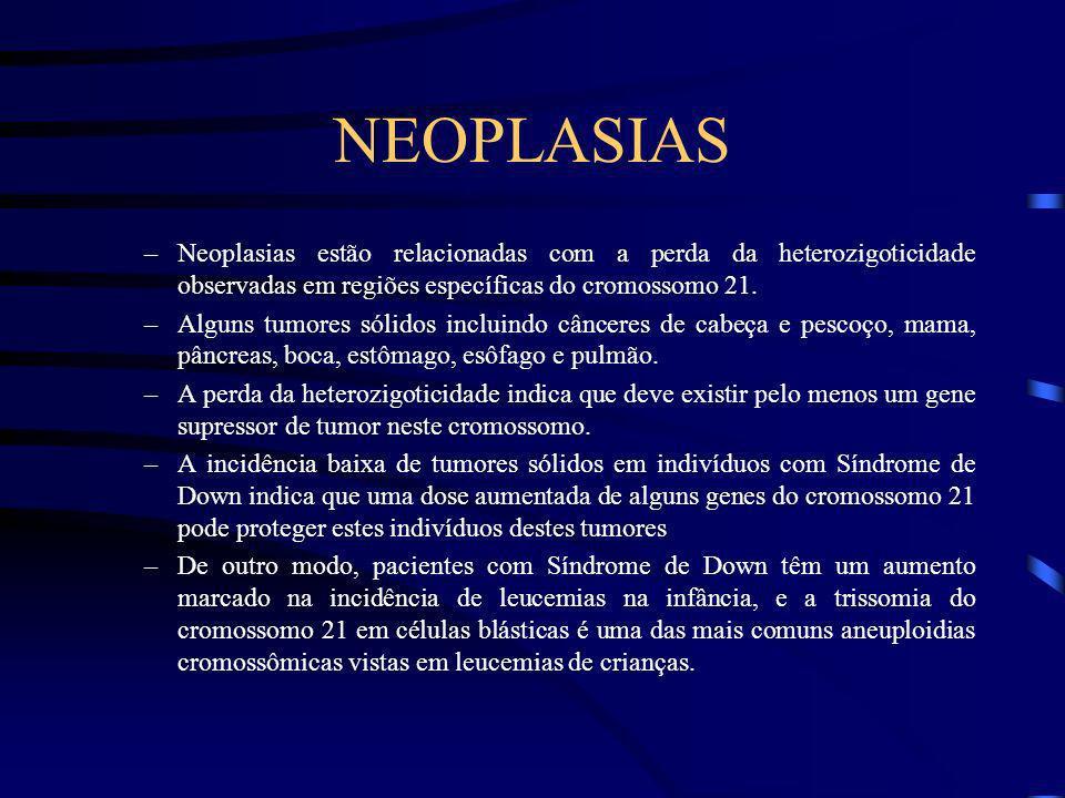 NEOPLASIAS Neoplasias estão relacionadas com a perda da heterozigoticidade observadas em regiões específicas do cromossomo 21.