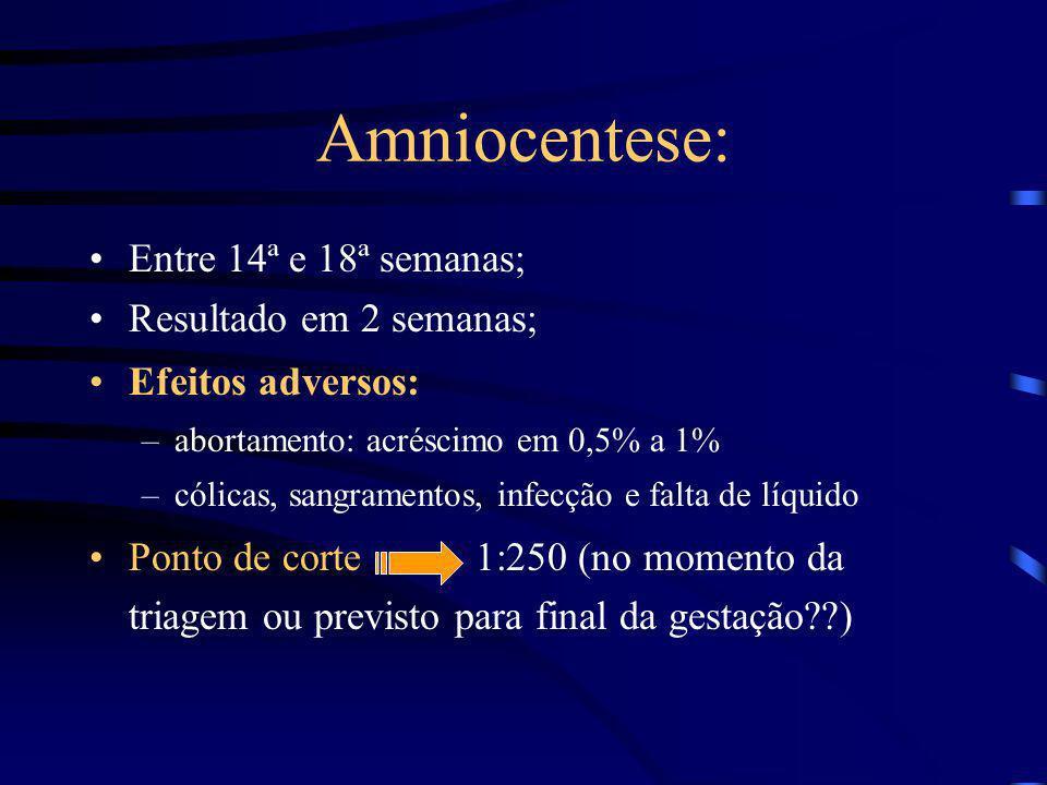 Amniocentese: Entre 14ª e 18ª semanas; Resultado em 2 semanas;