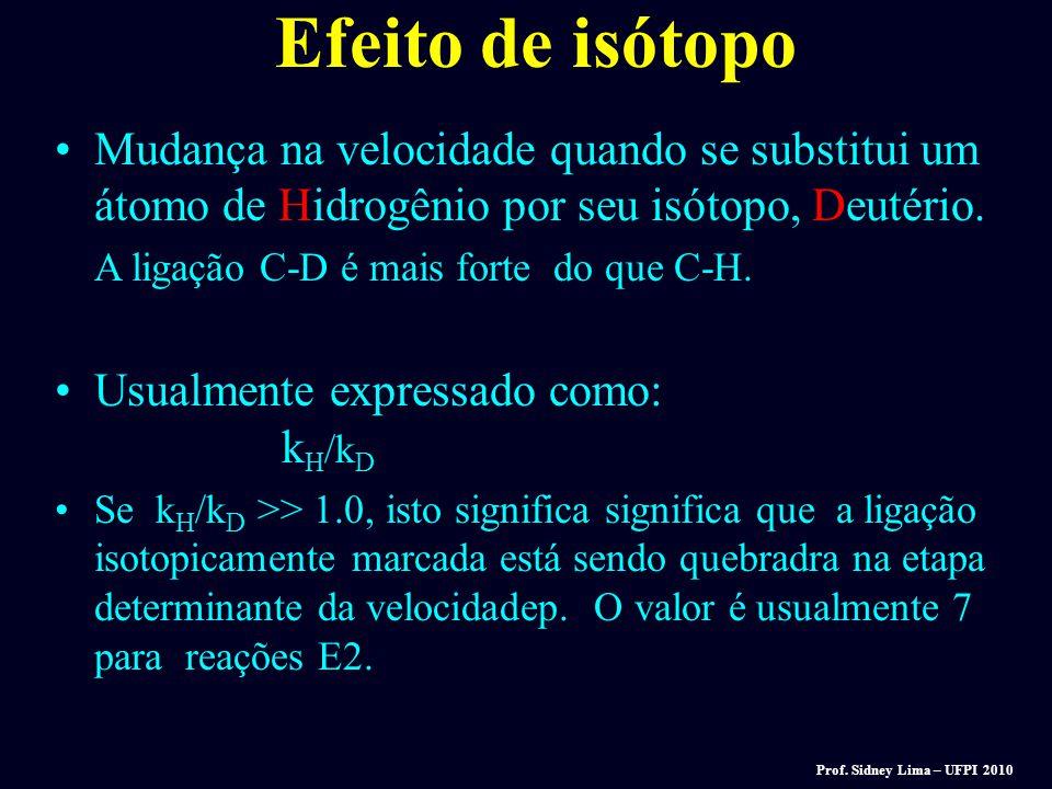 Efeito de isótopo Mudança na velocidade quando se substitui um átomo de Hidrogênio por seu isótopo, Deutério.