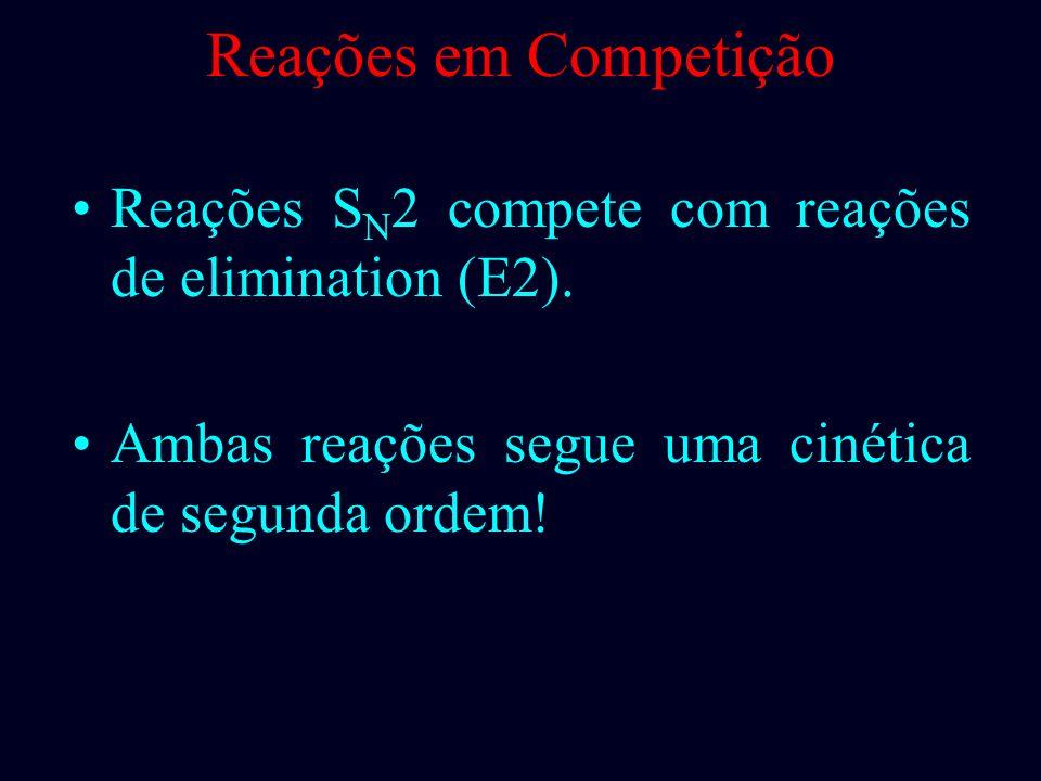 Reações em Competição Reações SN2 compete com reações de elimination (E2).