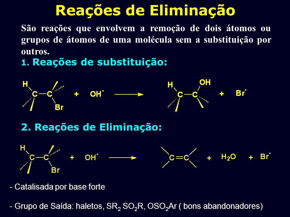 Reações de Eliminação São reações que envolvem a remoção de dois átomos ou grupos de átomos de uma molécula sem a substituição por outros.