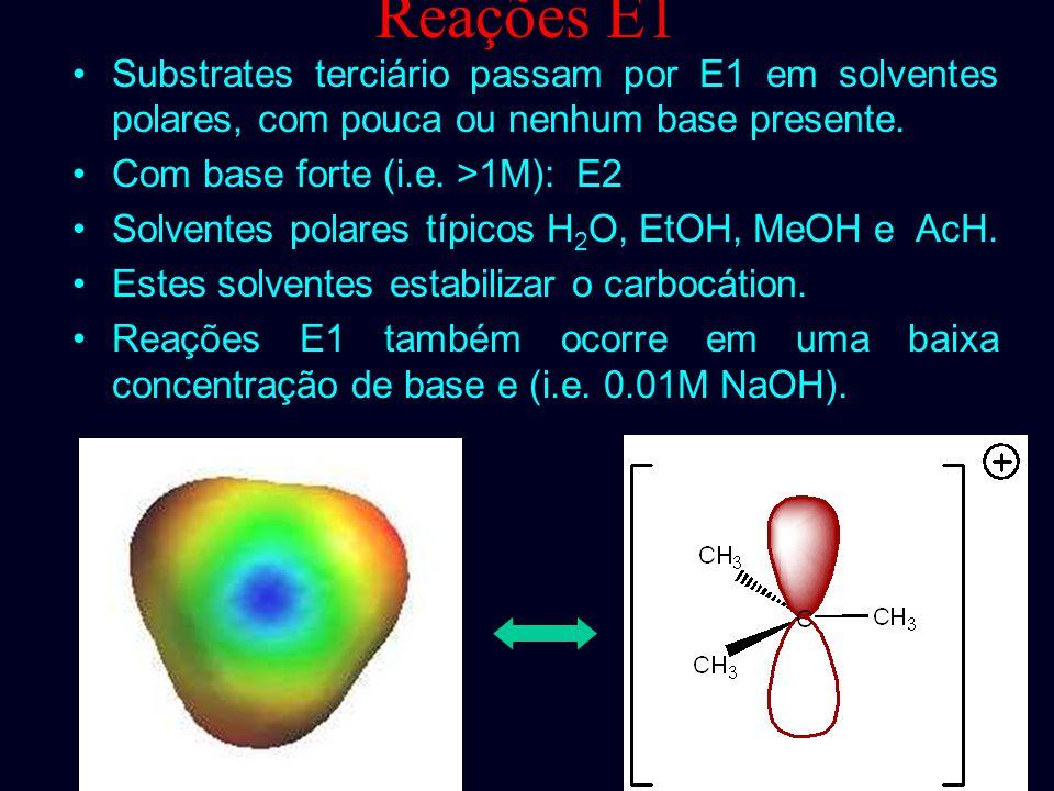 Reações E1 Substrates terciário passam por E1 em solventes polares, com pouca ou nenhum base presente.