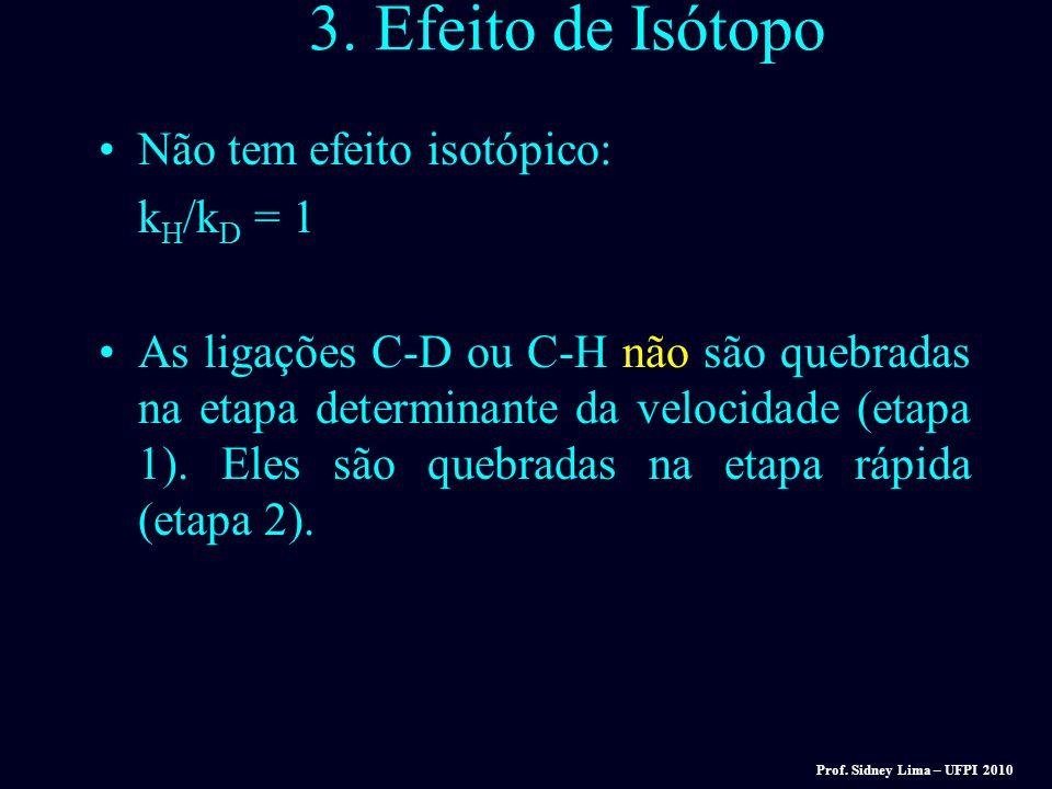 3. Efeito de Isótopo Não tem efeito isotópico: kH/kD = 1