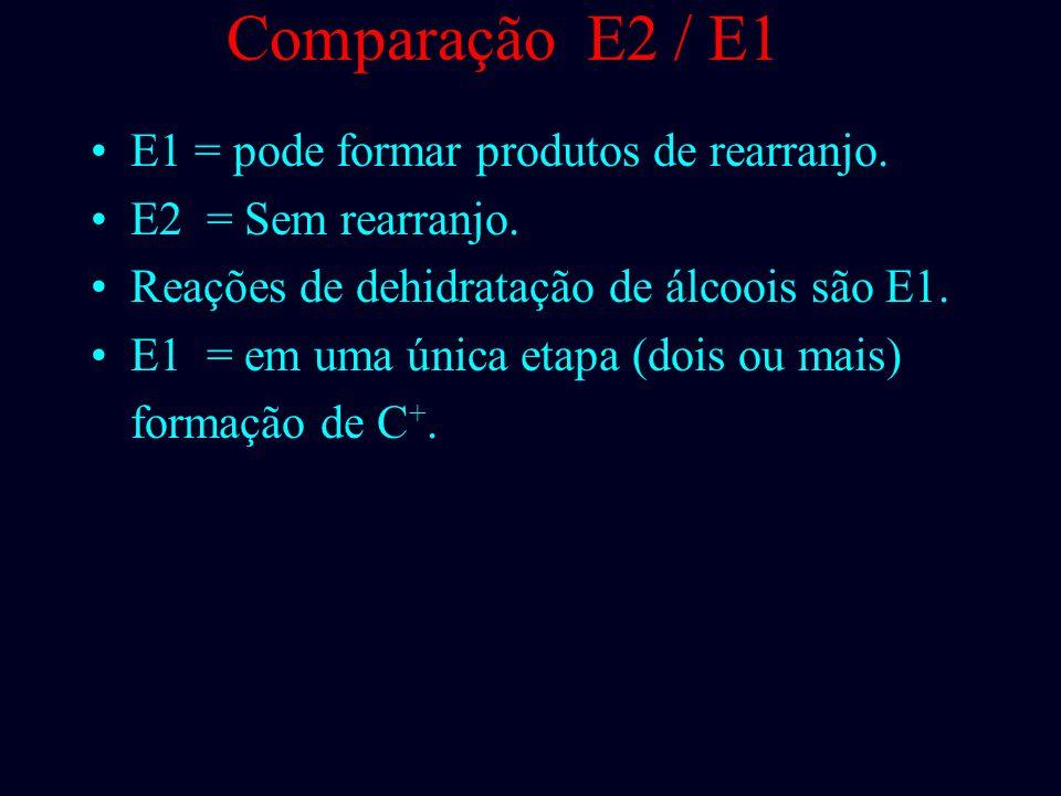 Comparação E2 / E1 E1 = pode formar produtos de rearranjo.