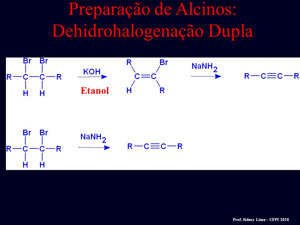 Preparação de Alcinos: Dehidrohalogenação Dupla