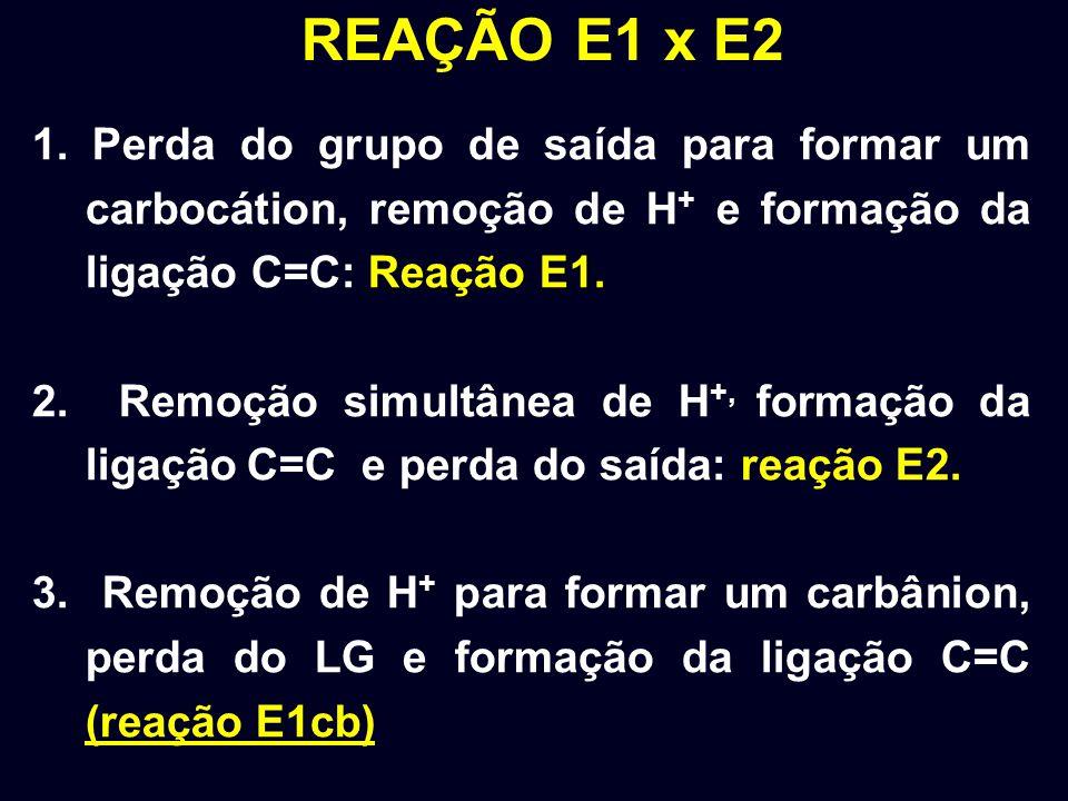 REAÇÃO E1 x E2 1. Perda do grupo de saída para formar um carbocátion, remoção de H+ e formação da ligação C=C: Reação E1.