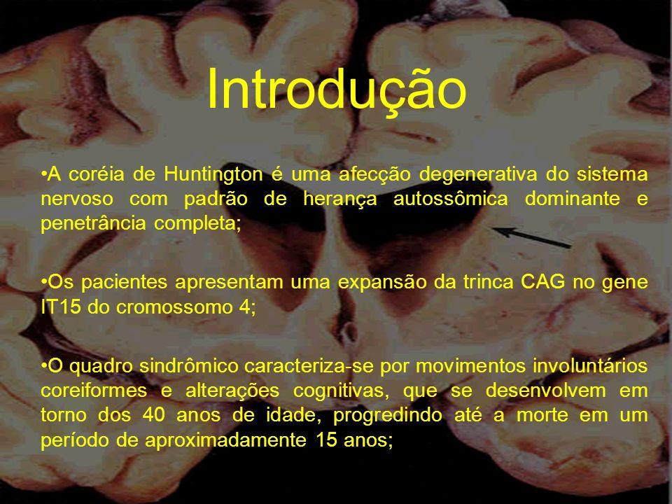 Introdução A coréia de Huntington é uma afecção degenerativa do sistema nervoso com padrão de herança autossômica dominante e penetrância completa;