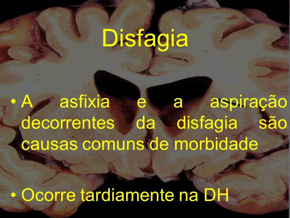 Disfagia A asfixia e a aspiração decorrentes da disfagia são causas comuns de morbidade.