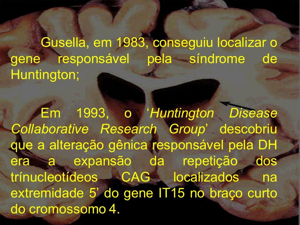 Gusella, em 1983, conseguiu localizar o gene responsável pela síndrome de Huntington;
