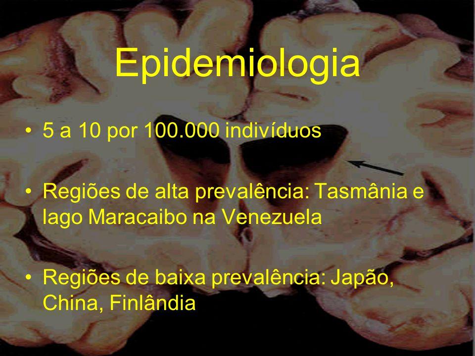 Epidemiologia 5 a 10 por 100.000 indivíduos