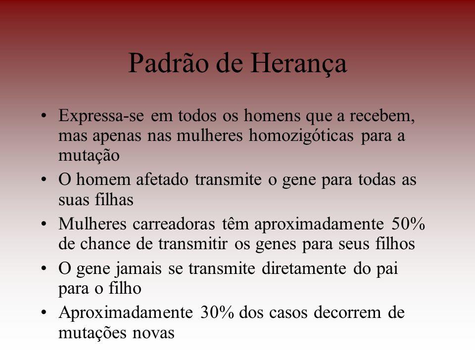 Padrão de HerançaExpressa-se em todos os homens que a recebem, mas apenas nas mulheres homozigóticas para a mutação.