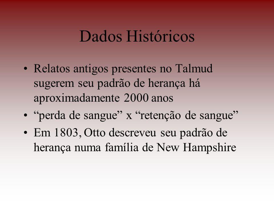Dados Históricos Relatos antigos presentes no Talmud sugerem seu padrão de herança há aproximadamente 2000 anos.