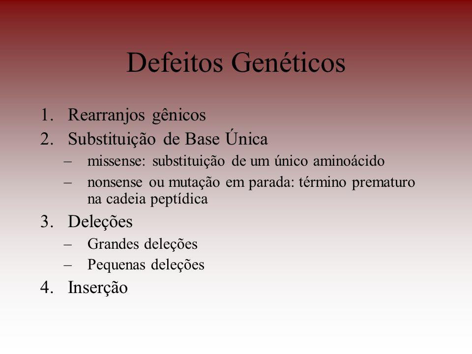 Defeitos Genéticos Rearranjos gênicos Substituição de Base Única