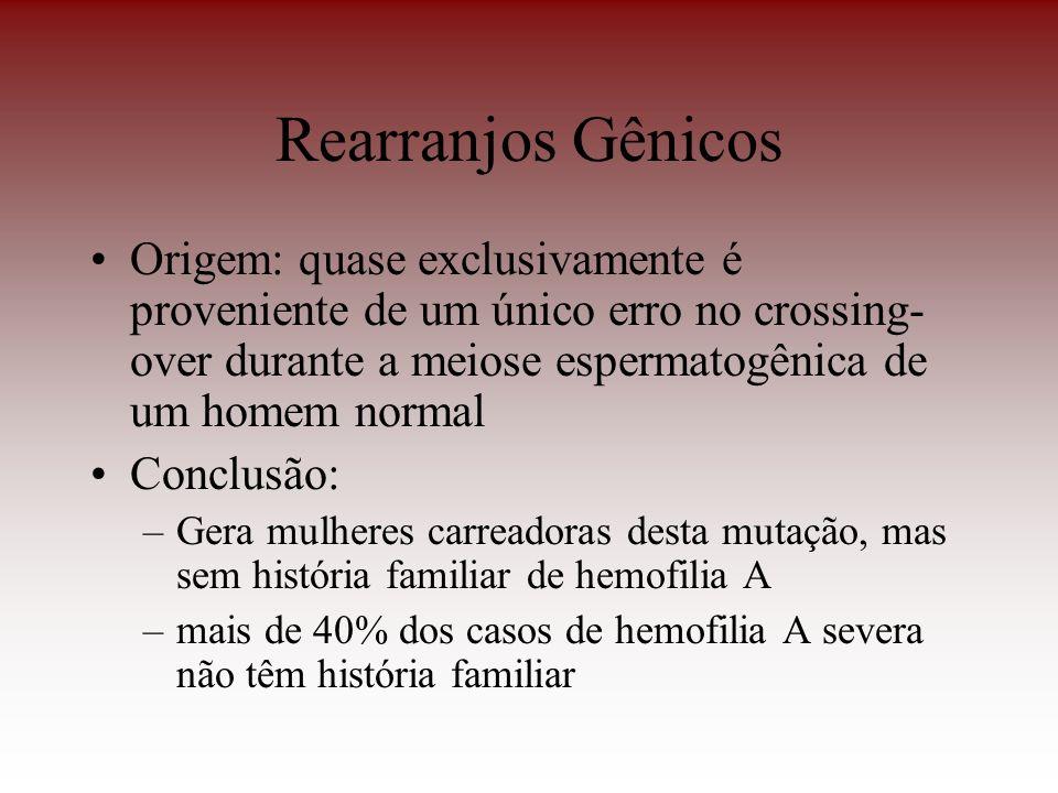Rearranjos Gênicos Origem: quase exclusivamente é proveniente de um único erro no crossing-over durante a meiose espermatogênica de um homem normal.