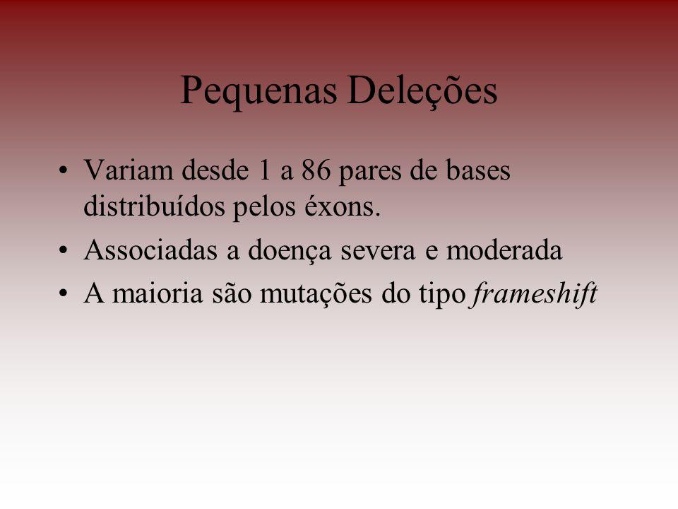 Pequenas Deleções Variam desde 1 a 86 pares de bases distribuídos pelos éxons. Associadas a doença severa e moderada.