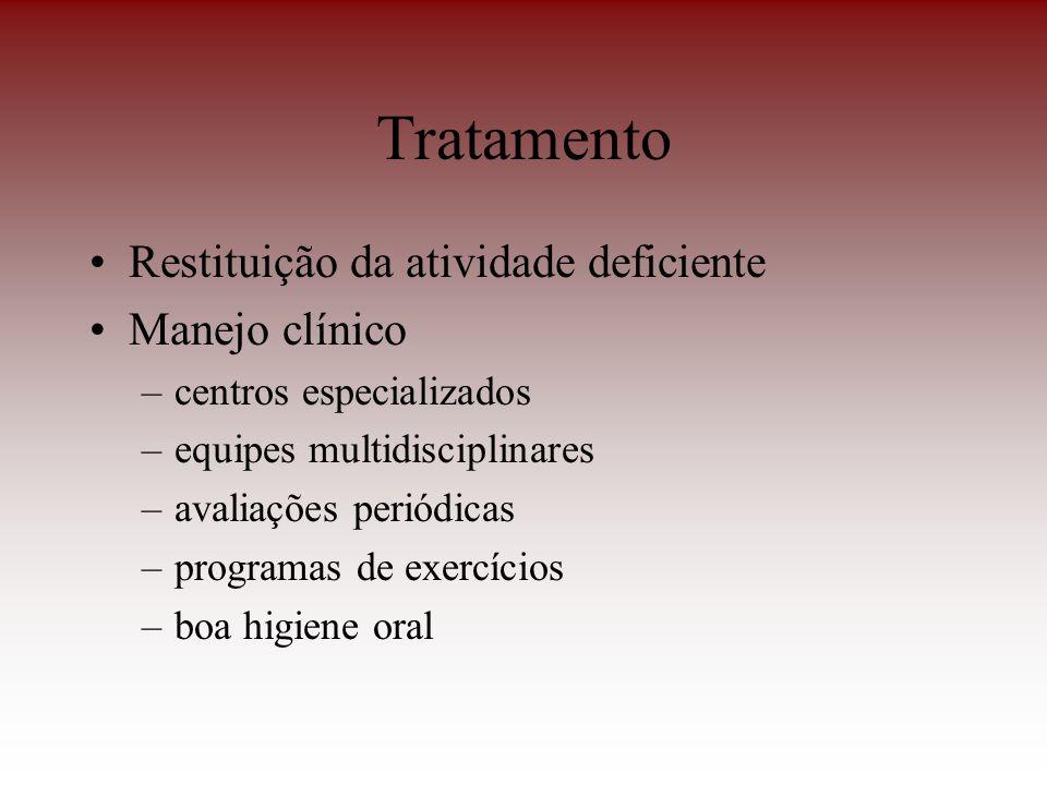 Tratamento Restituição da atividade deficiente Manejo clínico