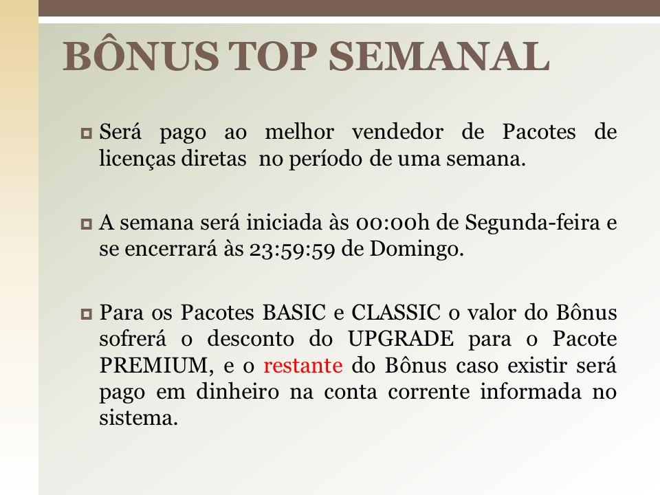 BÔNUS TOP SEMANAL Será pago ao melhor vendedor de Pacotes de licenças diretas no período de uma semana.