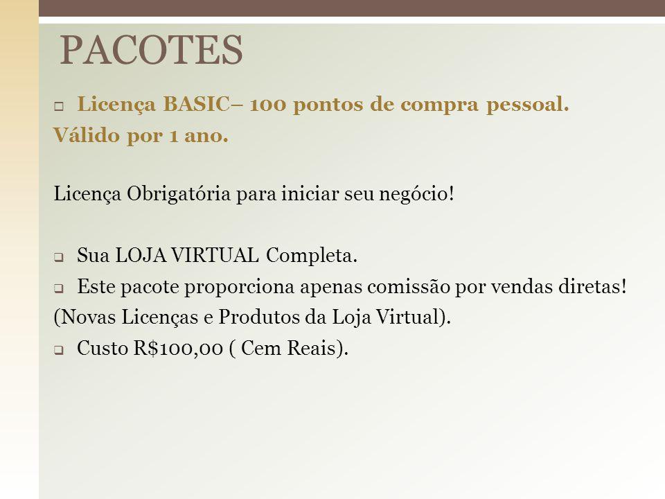 PACOTES Licença BASIC– 100 pontos de compra pessoal. Válido por 1 ano.