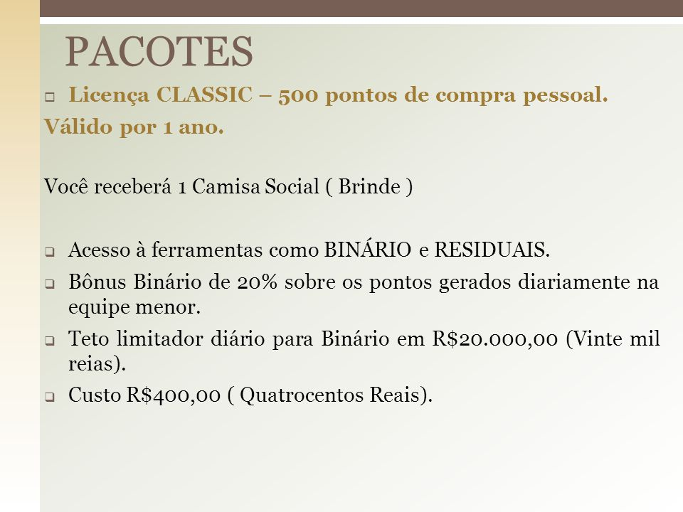 PACOTES Licença CLASSIC – 500 pontos de compra pessoal.