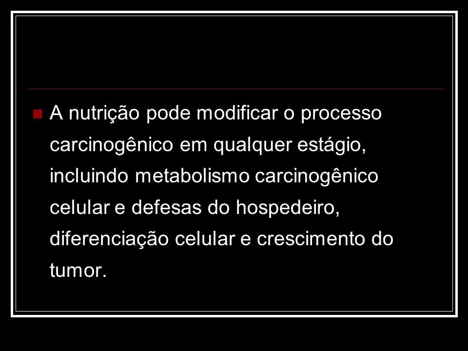 A nutrição pode modificar o processo carcinogênico em qualquer estágio, incluindo metabolismo carcinogênico celular e defesas do hospedeiro, diferenciação celular e crescimento do tumor.
