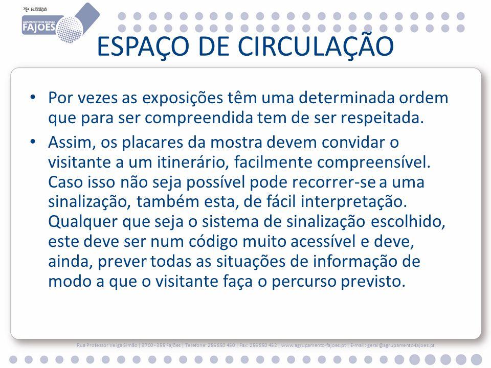 ESPAÇO DE CIRCULAÇÃO Por vezes as exposições têm uma determinada ordem que para ser compreendida tem de ser respeitada.