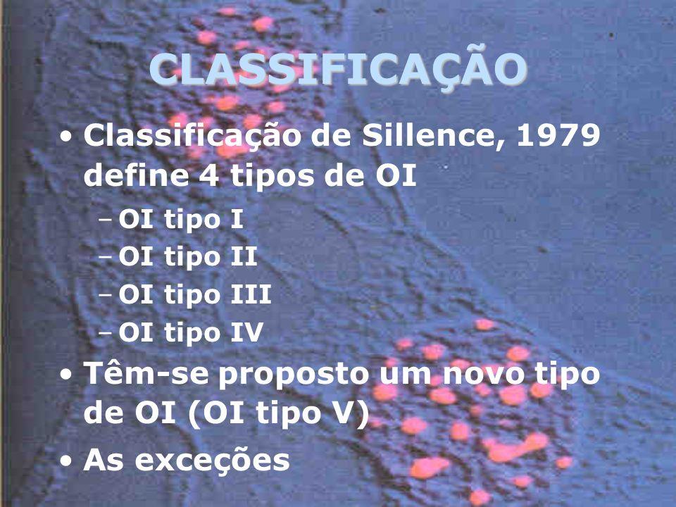 CLASSIFICAÇÃO Classificação de Sillence, 1979 define 4 tipos de OI