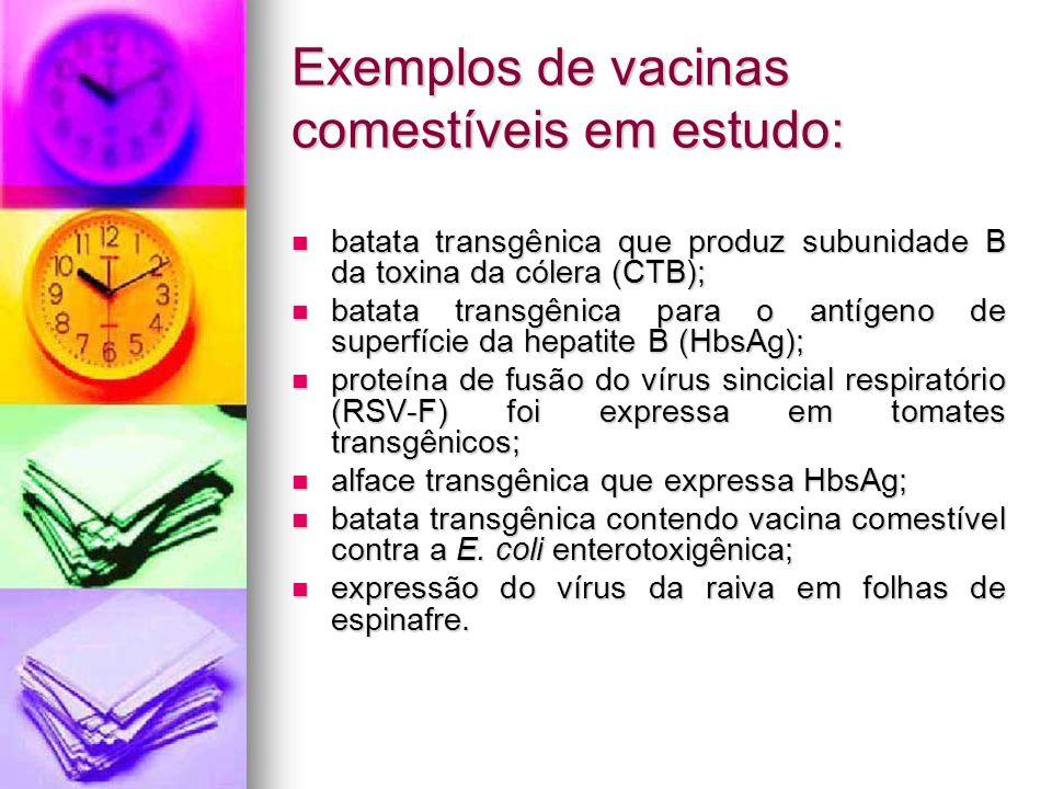 Exemplos de vacinas comestíveis em estudo: