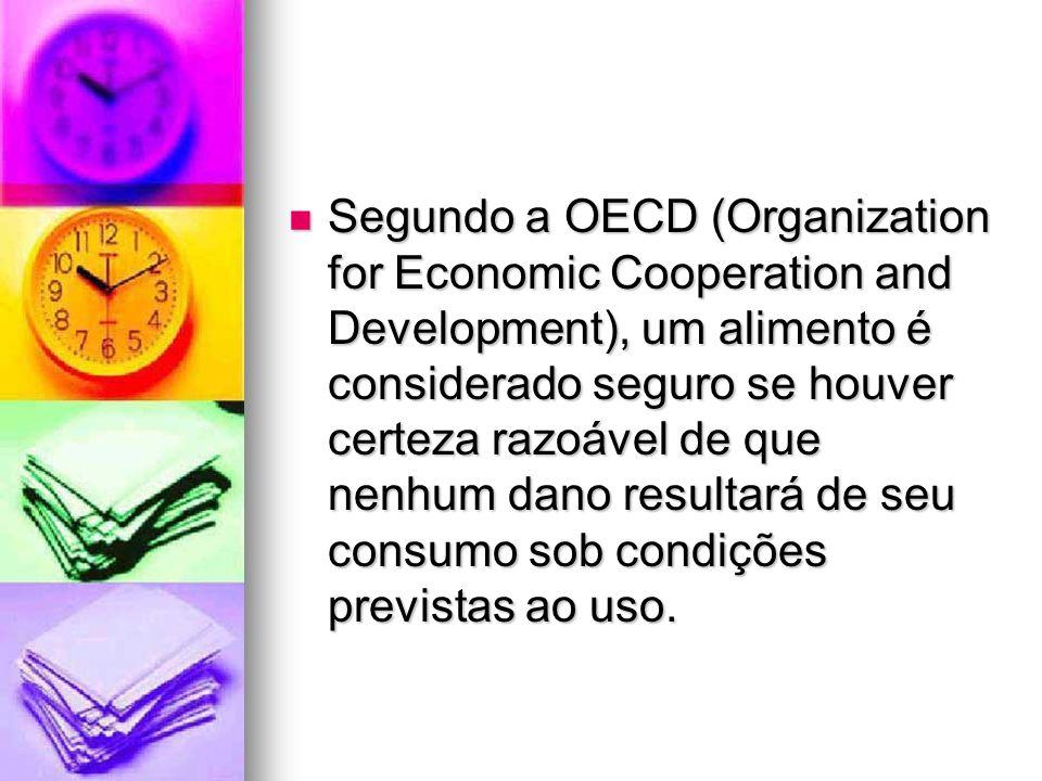 Segundo a OECD (Organization for Economic Cooperation and Development), um alimento é considerado seguro se houver certeza razoável de que nenhum dano resultará de seu consumo sob condições previstas ao uso.