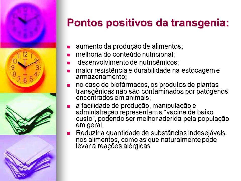 Pontos positivos da transgenia: