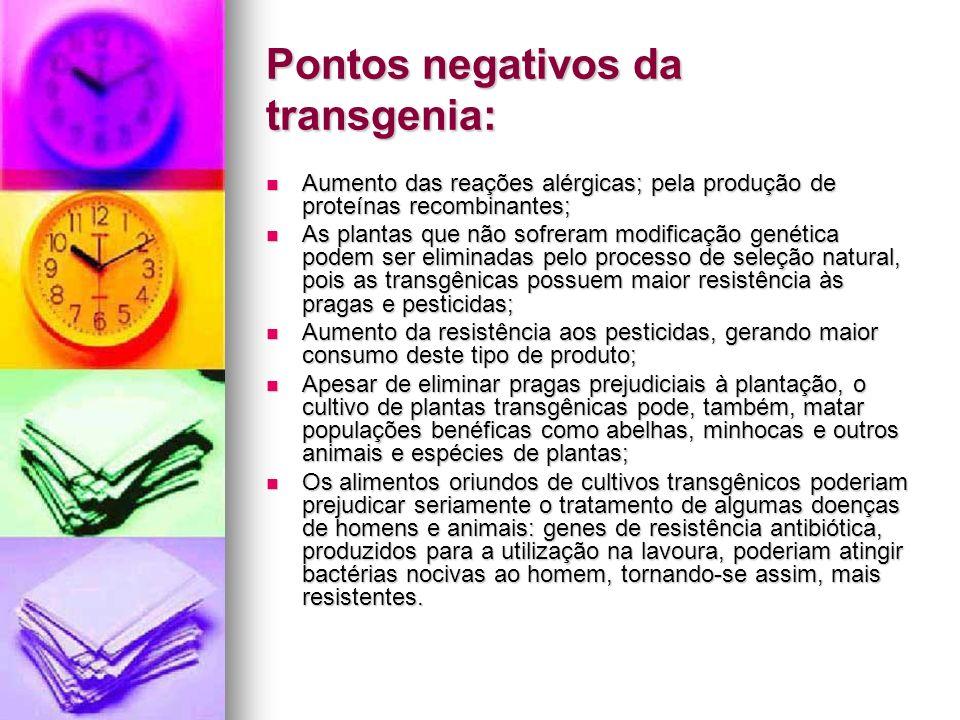 Pontos negativos da transgenia: