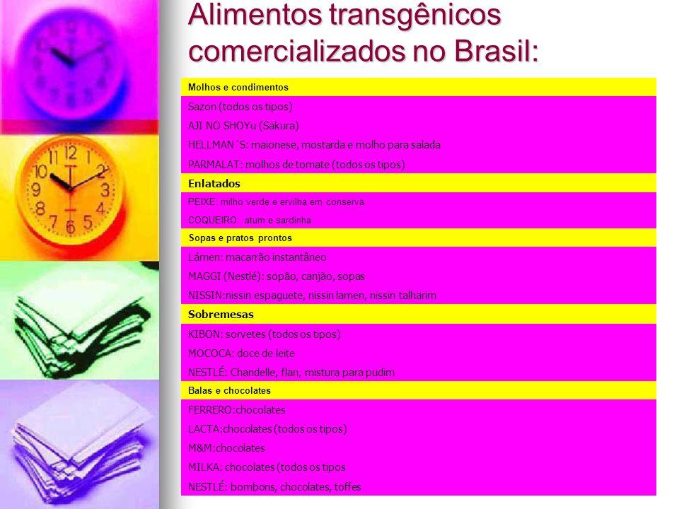 Alimentos transgênicos comercializados no Brasil: