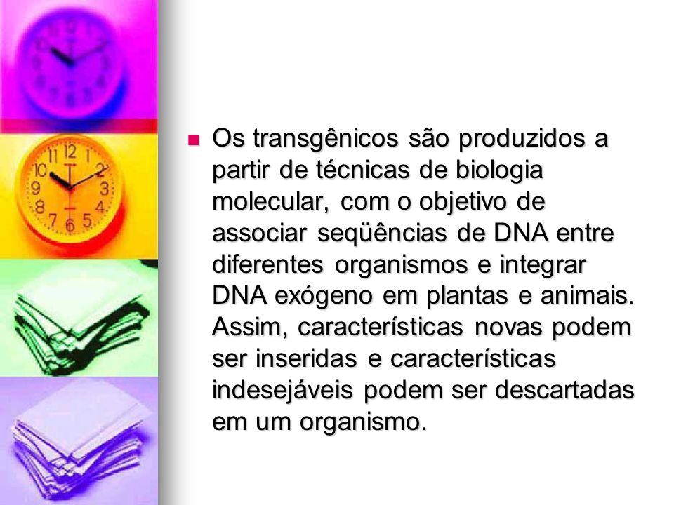Os transgênicos são produzidos a partir de técnicas de biologia molecular, com o objetivo de associar seqüências de DNA entre diferentes organismos e integrar DNA exógeno em plantas e animais.
